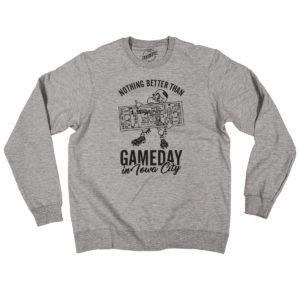 Gameday In Iowa City Crewneck Sweatshirt-Heather Grey