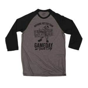 Gameday In Iowa City Triblend 3/4 Sleeve Tee-Grey/Black