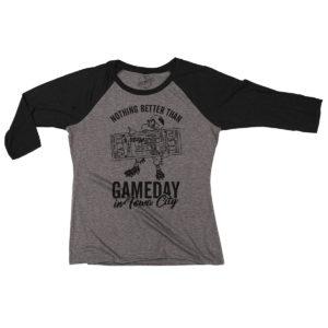 Gameday In Iowa City Women's Triblend 3/4 Sleeve Tee-Grey/Black