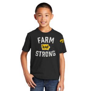 America Needs Farmers Farm Strong Youth Short Sleeve Tee-Black