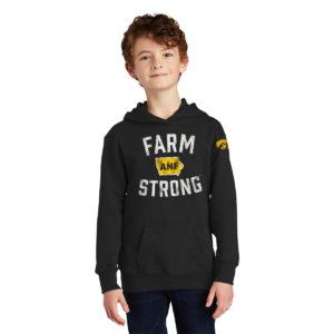 America Needs Farmers Farm Strong Youth Hoodie-Black