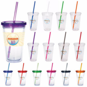 Clear Tumbler with Colored Lid – 18 oz.