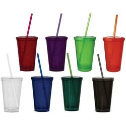 6oz Double Wall Economy Tumbler with Lid and Straw